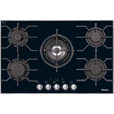 Miele KM3034-1 81cm Wide 5 Burner Gas-on-glass Hob - Black
