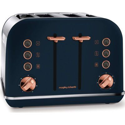 Morphy Richards 242039 4-Slice Toaster - Midnight Blue & Rose Gold