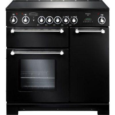 Rangemaster Kitchener 90 Electric Ceramic Range Cooker - Black & Chrome