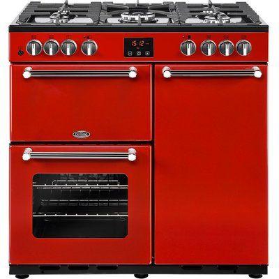 Belling Kensington 90DFT Dual Fuel Range Cooker - Red & Chrome