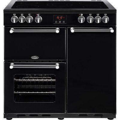 Belling Kensington 90E Electric Ceramic Range Cooker - Black & Chrome