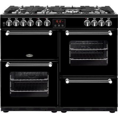 Belling Kensington 100DFT Dual Fuel Range Cooker - Black & Chrome