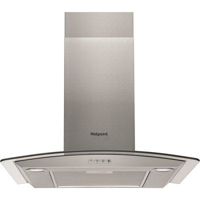 Hotpoint PHGC74FLMX 70cm Cooker Hood With Curved Glass Canopy - Stainless Steel