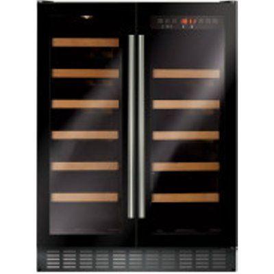 CDA FWC624BL Under Counter Double Door Wine Cooler - Black