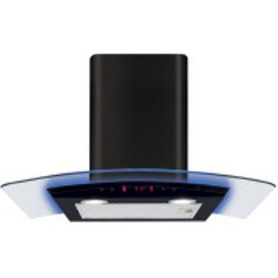 CDA EKP70BL 700mm Curved Glass Extractor with Edge Lighting - Black