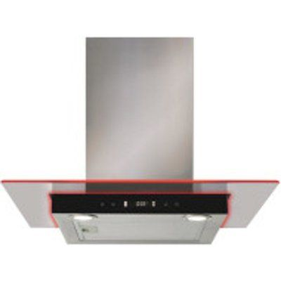 CDA EKN60SS 60cm Chimney Cooker Hood With Flat Glass Canopy & Edge Lighting - Stainless Steel
