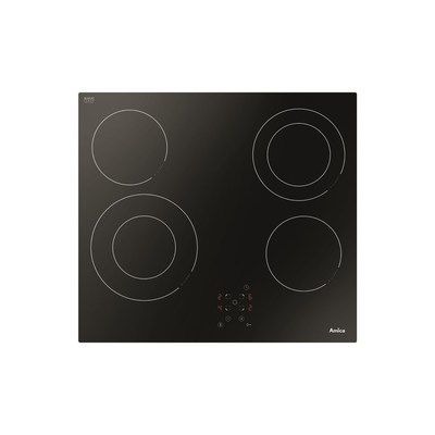 Amica ACH6440FR Frameless Touch Control 60cm Four Zone Ceramic Hob With Twin Dual Zones - Black