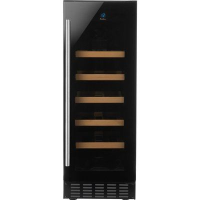 Amica AWC300BL 19 Bottle Freestanding Under Counter Wine Cooler Single Zone 30cm Wide 82cm Tall - Stainless Steel
