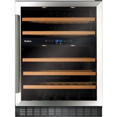 Amica AWC600SS 46 Bottle Freestanding Under Counter Wine Cooler Dual Zone 60cm Wide 82cm Tall - Stainless Steel