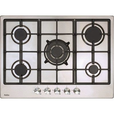 Amica AGH7100SS 68cm Wide Five Burner Gas Hob With Cast Iron Pan Stands - Stainless Steel