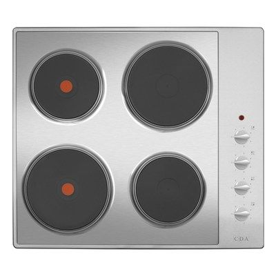 CDA HE6052SS 60cm 4 Plate Side Manual Control Electric Hob - Stainless Steel
