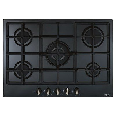 CDA HG7251BL 70cm 5 burner gas hob - wok burner - front control - Black