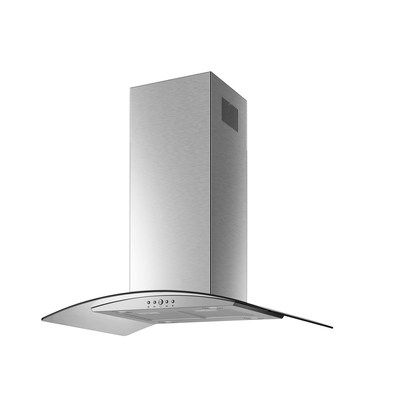 electriQ 90cm Curved Glass Island Cooker Hood Stainless Steel