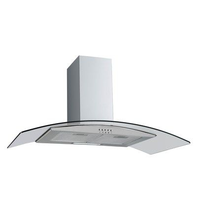 electriQ 80cm Curved Glass Stainless Steel Chimney Cooker Hood