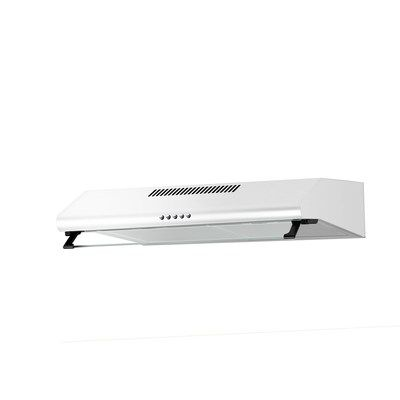 electriQ 60cm White Visor Cooker Hood with Glass Front Top