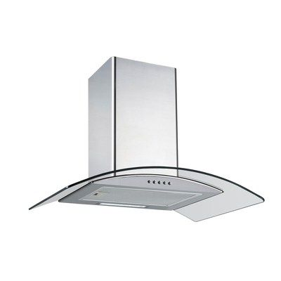 electriQ 60cm Curved Glass Chimney Cooker Hood - Stainless Steel