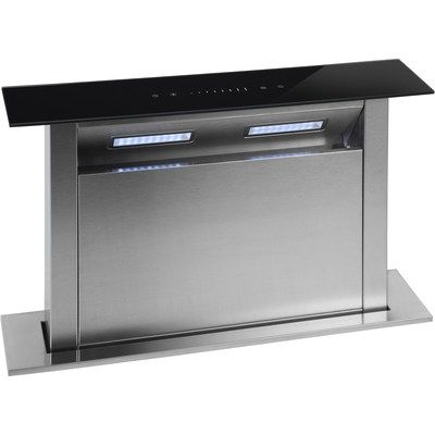 Montpellier DDCH90 Touch Control 90cm Wide Downdraft Extractor - Black Glass