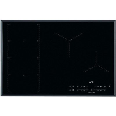 AEG IKE84471FB 78cm Four Zone Induction Hob With Bridge Zone - Black With Bevelled Edges