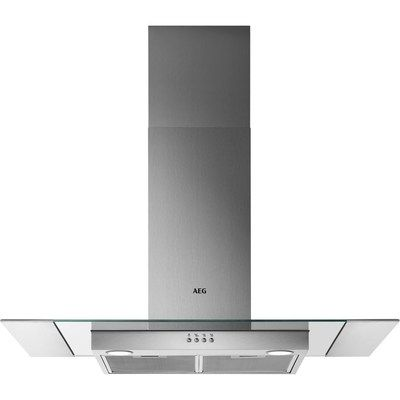 AEG DTB3652M 60cm Cooker Hood With Flat Glass And Steel Canopy - Stainless Steel