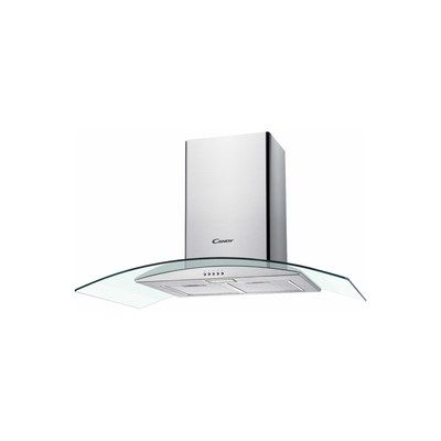Candy CGM94/1X 90cm Chimney Cooker Hood With Curved Glass Canopy - Stainless Steel