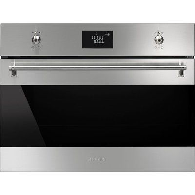 Smeg SF4390MCX Built-in Combination Microwave - Stainless Steel & Black Glass