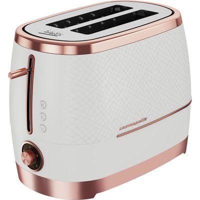 Beko TAM8202W Cosmopolis 2 Slice Toaster - White & Rose Gold