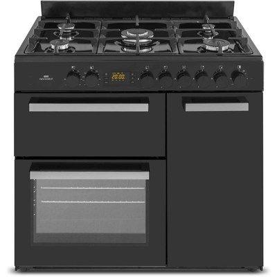 New World NW90DF3BL 90cm Triple Cavity Dual Fuel Range Cooker - Black