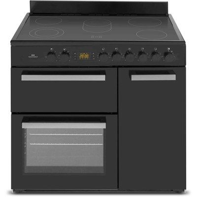 New World NW90C3BL 90cm Triple Cavity Electric Range Cooker With Ceramic Hob - Black