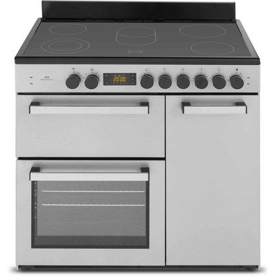 New World NW90C3ST 90cm Triple Cavity Electric Range Cooker With Ceramic Hob - Stainless Steel