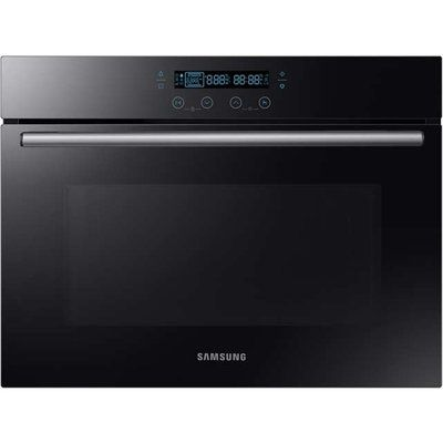 Samsung Prezio NQ50H5537KB Built In Compact Electric Single Oven with Microwave Function - Black Glass