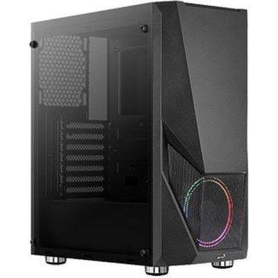 Aerocool Zauron RGB Black Mid Tower Tempered Glass PC Gaming Case