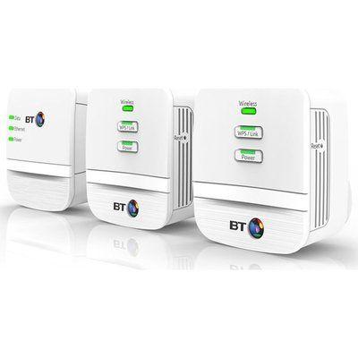 BT Mini Home Hotspot 600 Wireless Powerline Adapter Kit - Triple Pack