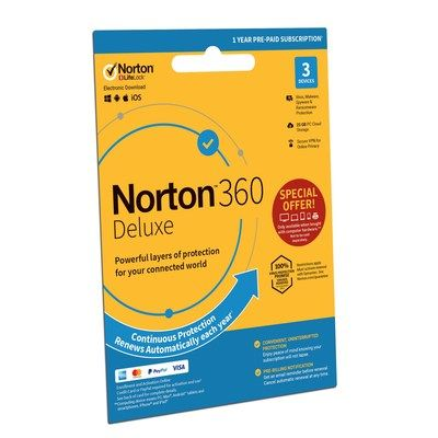 Norton 360 Internet Security with VPN 3 Devices 12 Month Subscription