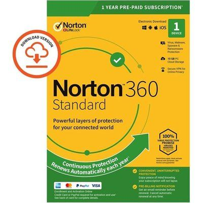 Norton Digital Download for 1 Device - Annual Subscription