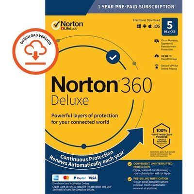 Norton Digital Download for 5 Devices - Annual Subscription