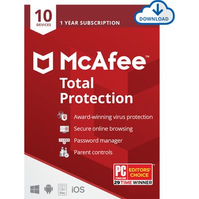 McAfee Total Protection Digital Download for 10 Devices - One Time Purchase