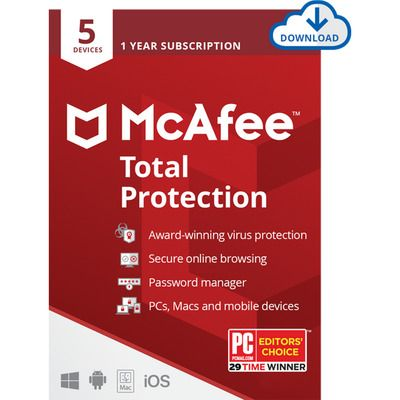 McAfee Total Protection Digital Download for 5 Devices - Annual Subscription