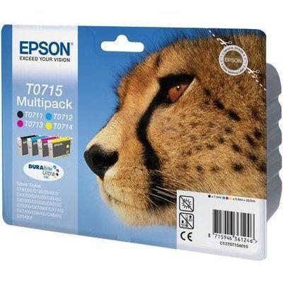 Epson Cheetah T0715 Cyan & Black Ink Cartridges - Multipack, Cyan