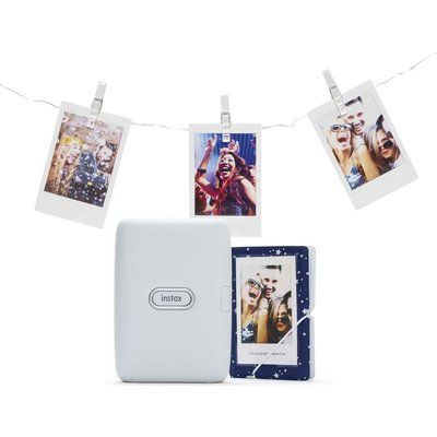 Instax mini Link Photo Printer with Album & LED Peg Lights Bundle - Ash White