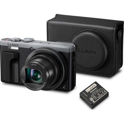 Panasonic Lumix DMC-TZ80EB-S Superzoom Compact Camera, Case & Additional Battery Bundle - Silver