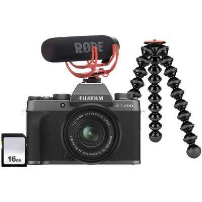 Fujifilm X-T200 Camera inc XC 15-45mm Lens Vlogger Kit - Dark Silver