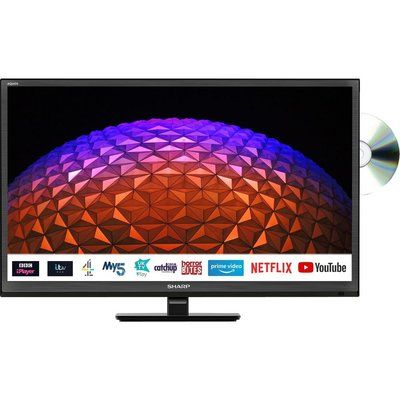 """Sharp 1T-C24BE0KR1FB 24"""" Smart HD Ready LED TV with Built-in DVD Player"""