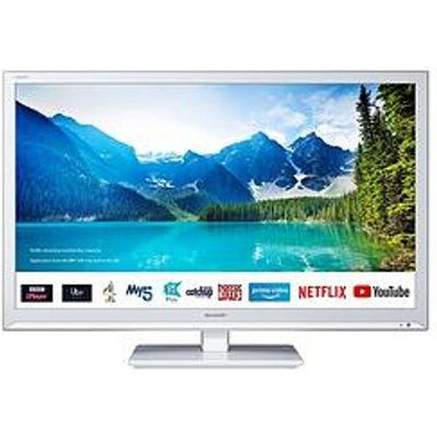 """Sharp 24BC0KW 24"""" HD Ready LED Smart TV With Freeview - White"""