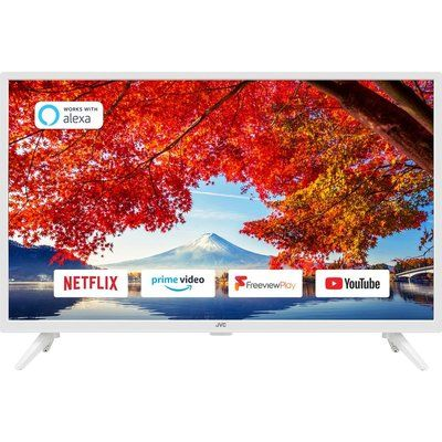 """JVC 32"""" LT-32C606  Smart HD Ready HDR LED TV with Built-in DVD Player - White"""