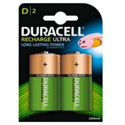 Duracell HR20B2 2200mAh 2x Rechargeable D Batteries