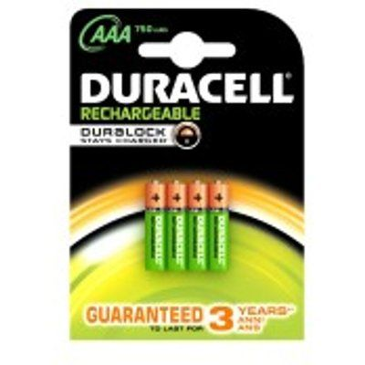Duracell HR03B4-750SC 4x Rechargeable AAA 750mAh