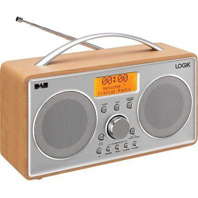 Logik L55DAB15 Portable DAB Clock Radio - Silver & Wood