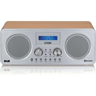 Logik L75DAB20 Portable DAB Bluetooth Radio - Silver & Wood