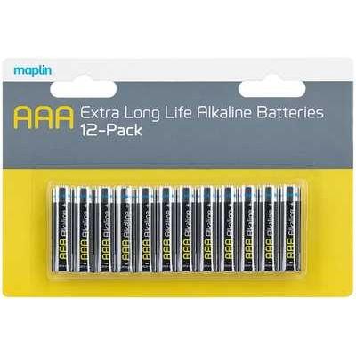 Maplin Extra Long Life High Performance Alkaline AAA Batteries - Pack of 12