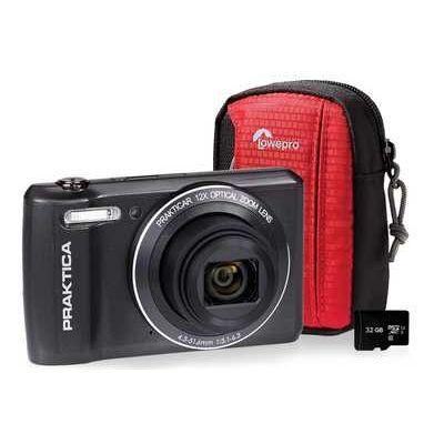 Praktica Luxmedia Z212-LE Compact Camera, Case & 32 GB MicroSD Memory Card Bundle - Graphite